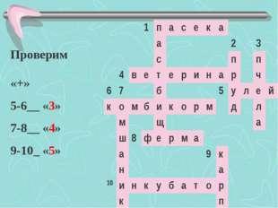 Проверим «+» 5-6__ «3» 7-8__ «4» 9-10_ «5» 1пасека а2