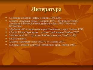 Литература 1.Хроника событий, цифры и факты.1998-2005. 2.Газета «Трудовая сла