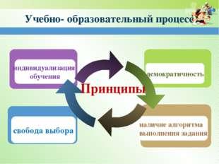 Учебно- образовательный процесс свобода выбора индивидуализация обучения нали