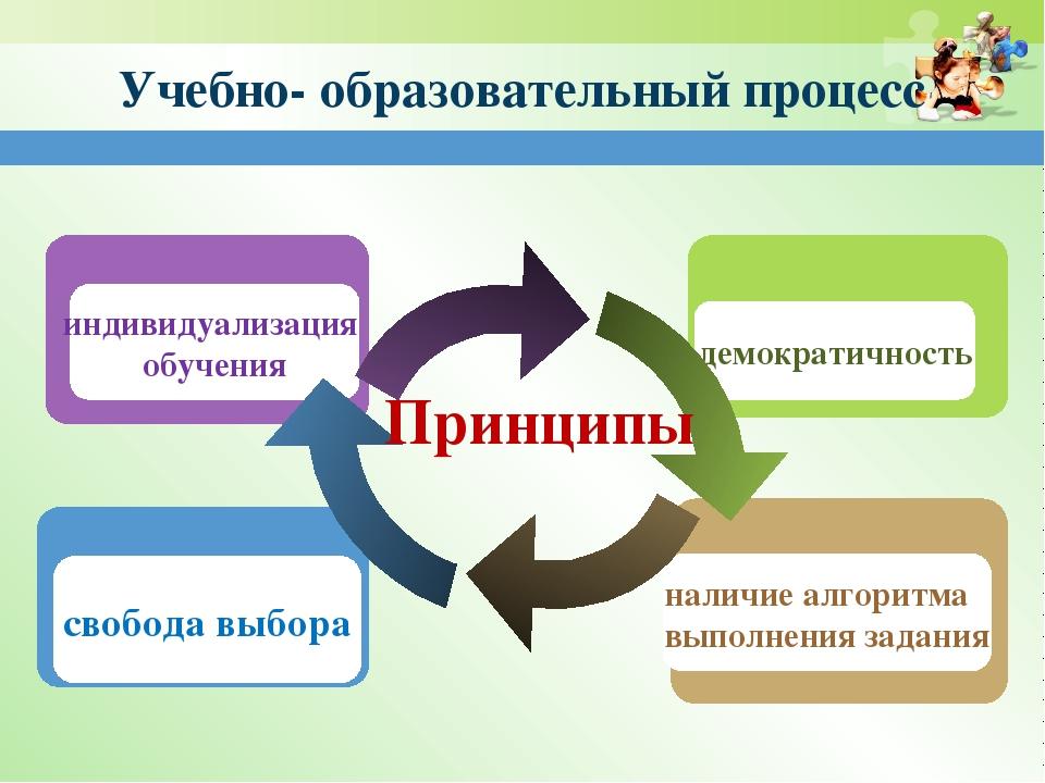 Учебно- образовательный процесс свобода выбора индивидуализация обучения нали...