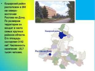 Кашарский район расположен в 260 км северо-восточнее Ростова-на-Дону. По разм