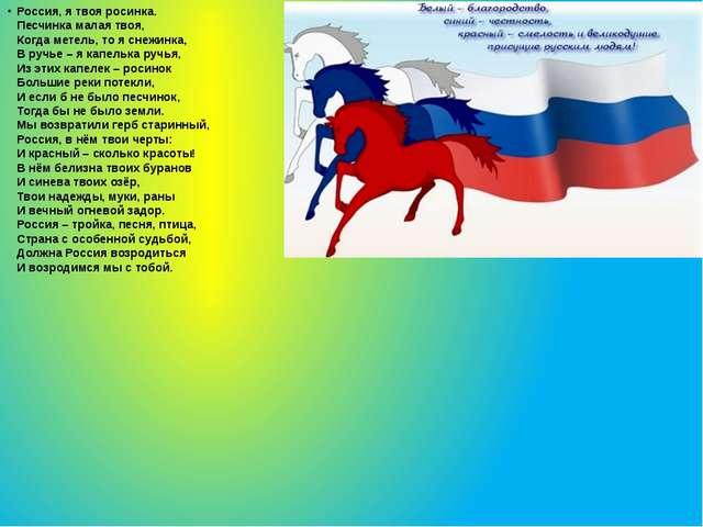 Россия, я твоя росинка. Песчинка малая твоя, Когда метель, то я снежинка, В р...
