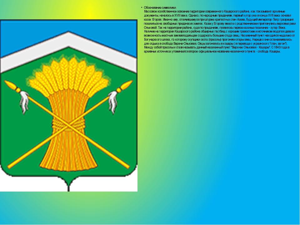 Обоснование символики: Массовое хозяйственное освоение территории современно...