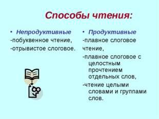 Способы чтения: Непродуктивные -побуквенное чтение, -отрывистое слоговое. Пр