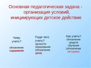 Основная педагогическая задача - организация условий, инициирующих детское де