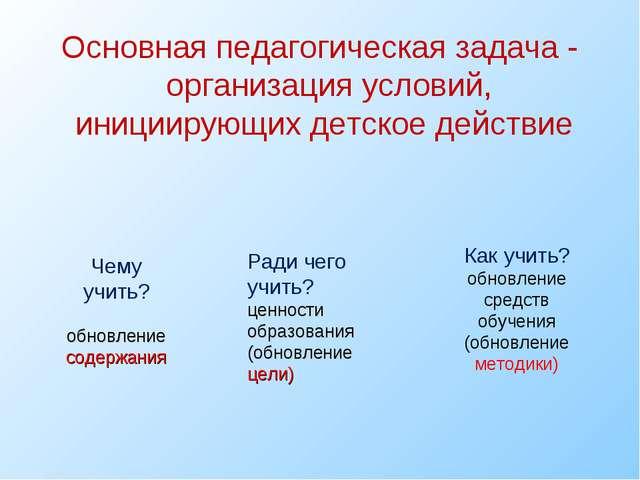Основная педагогическая задача - организация условий, инициирующих детское де...