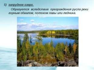 5) запрудное озеро. Образуется вследствие преграждения русла реки горным обва