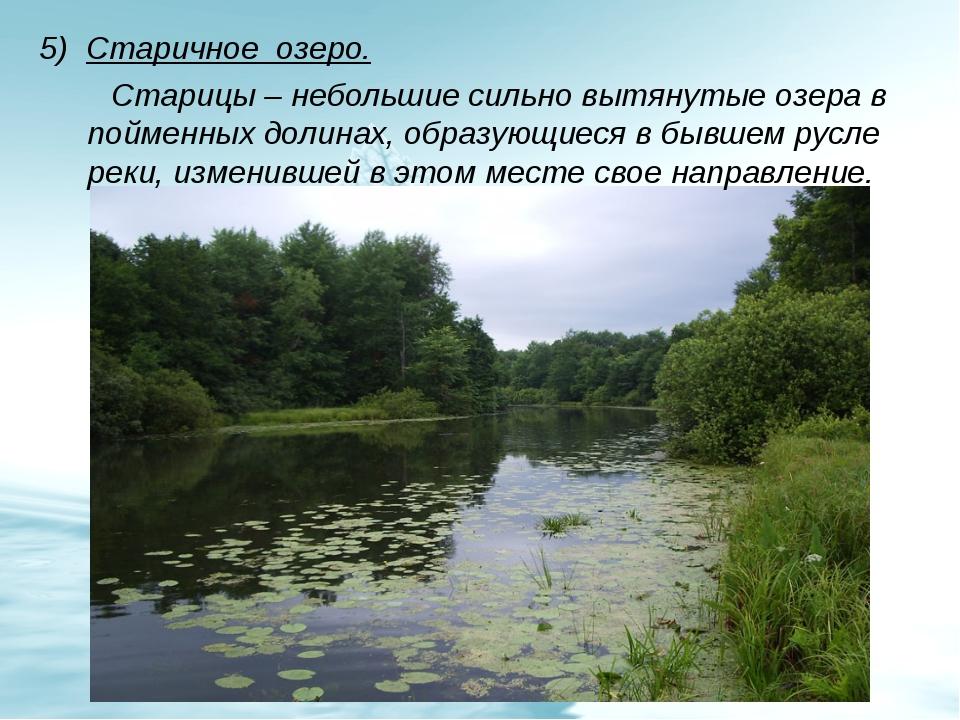 5) Старичное озеро. Старицы – небольшие сильно вытянутые озера в пойменных до...