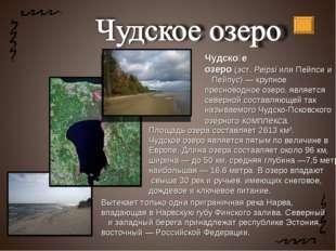 Чудско́е озеро(эст.PeipsiилиПейпсии Пейпус)— крупное пресноводноеозер
