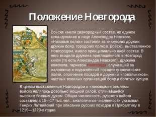 Войска имели разнородный состав, но единое командование в лице Александра Нев