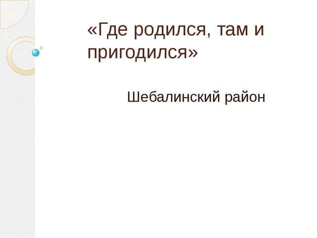«Где родился, там и пригодился» Шебалинский район