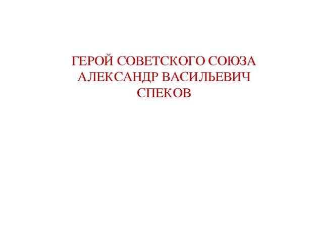 ГЕРОЙ СОВЕТСКОГО СОЮЗА АЛЕКСАНДР ВАСИЛЬЕВИЧ СПЕКОВ