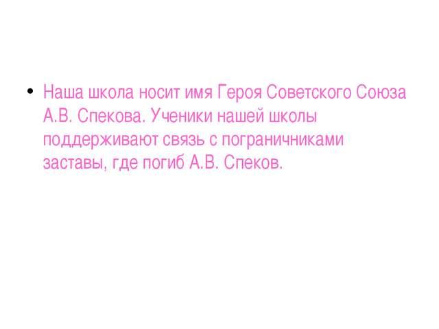 Наша школа носит имя Героя Советского Союза А.В. Спекова. Ученики нашей школ...