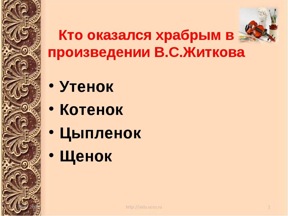 Кто оказался храбрым в произведении В.С.Житкова Утенок Котенок Цыпленок Щенок