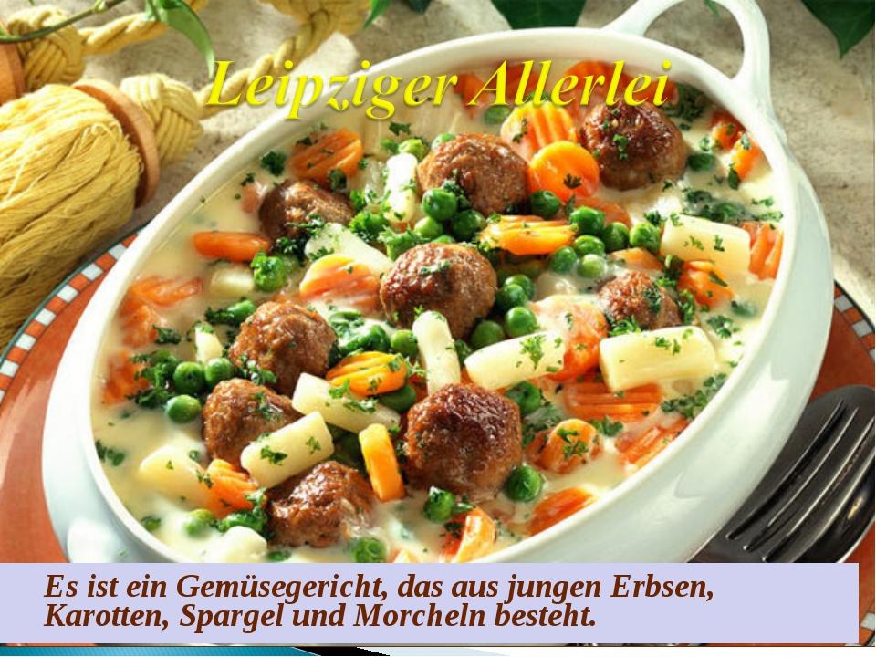 Es ist ein Gemüsegericht, das aus jungen Erbsen, Karotten, Spargel und Morch...