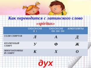Как переводится с латинского слово «spiritus» дух СН3-СН-СН3 ОН СН2-СН-СН2 ОН