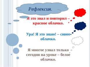 Я это знал и повторил – красное облачко. Ура! Я это знаю! – синее облачко. Я