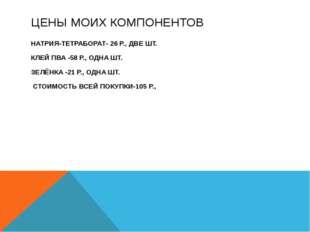 ЦЕНЫ МОИХ КОМПОНЕНТОВ НАТРИЯ-ТЕТРАБОРАТ- 26 Р., ДВЕ ШТ. КЛЕЙ ПВА -58 Р., ОДНА