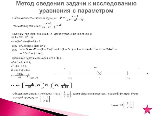 Найти множество значений функции: Рассмотрим уравнение: Выясним, при каких з...