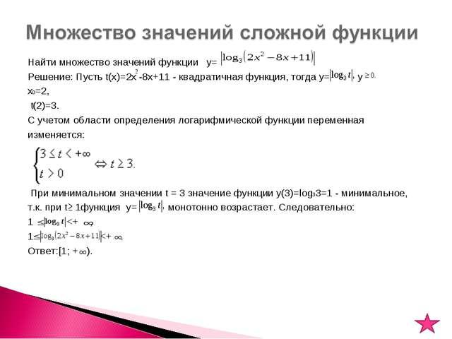 Найти множество значений функции y= Решение: Пусть t(x)=2x -8x+11 - квадратич...