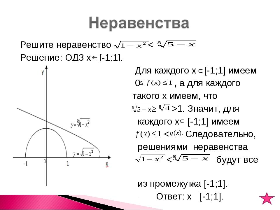 Решите неравенство < Решение: ОДЗ х [-1;1]. Для каждого х [-1;1] имеем 0 , а...