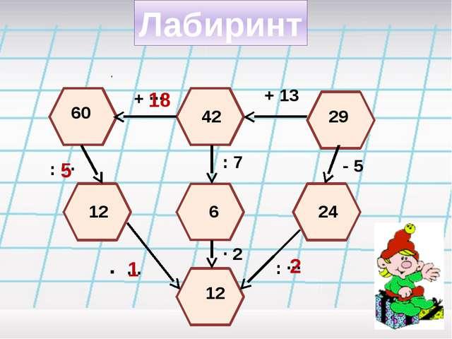 Лабиринт 29 + 13 42 + ··· 60 18 : ··· 12 5 · ··· : 7 6 · 2 12 1 - 5 24 : ··· 2