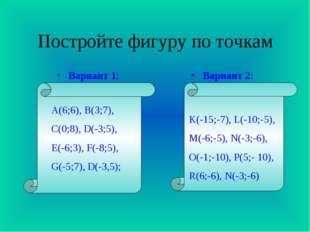 Постройте фигуру по точкам Вариант 1: Вариант 2: K(-15;-7), L(-10;-5), M(-6;-
