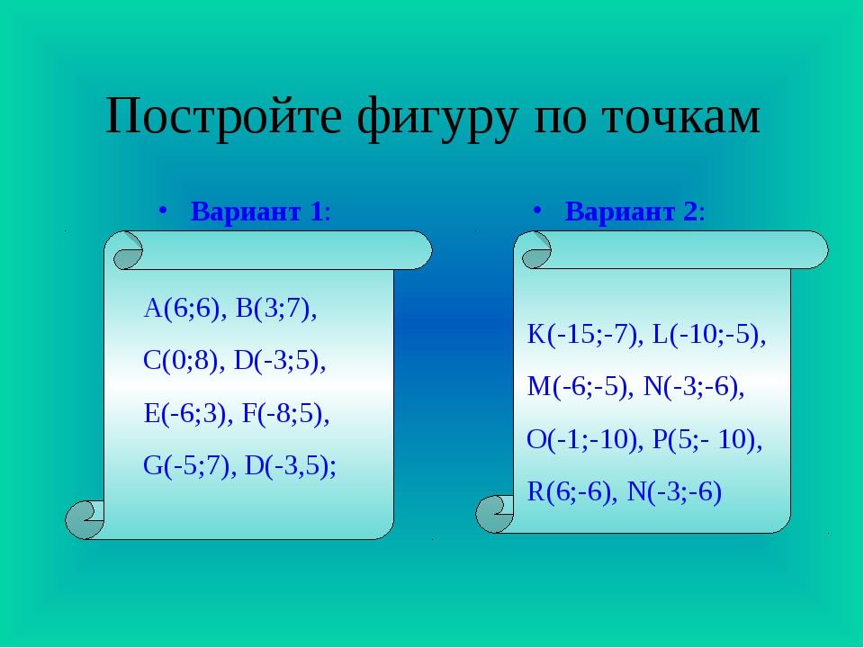 Постройте фигуру по точкам Вариант 1: Вариант 2: K(-15;-7), L(-10;-5), M(-6;-...