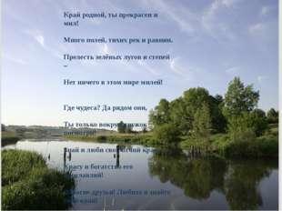 Край родной, ты прекрасен и мил! Много полей, тихих рек и равнин. Прелесть зе