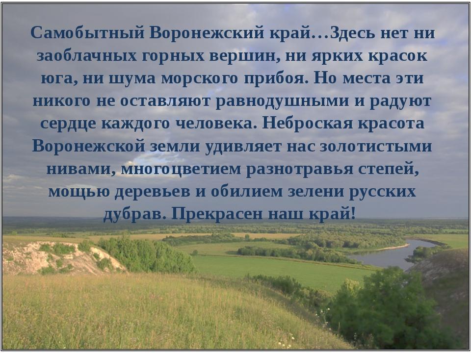 Самобытный Воронежский край…Здесь нет ни заоблачных горных вершин, ни ярких к...