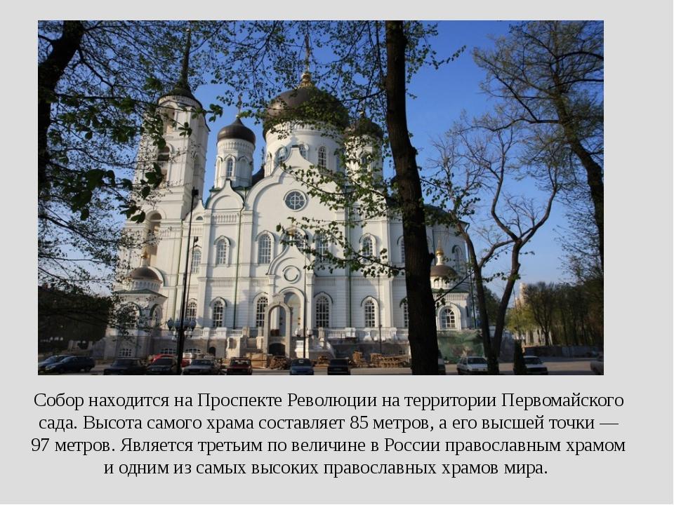 Собор находится наПроспекте Революциина территории Первомайского сада. Высо...