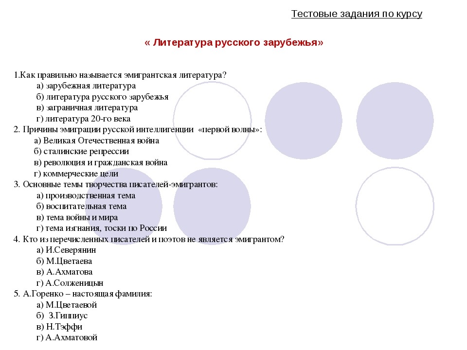 Тестовые задания по курсу « Литература русского зарубежья» 1.Как правильно н...