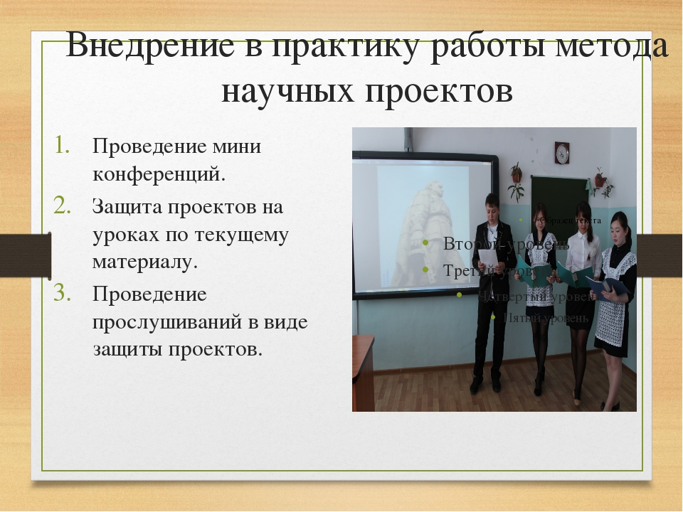 Внедрение в практику работы метода научных проектов Проведение мини конференц...