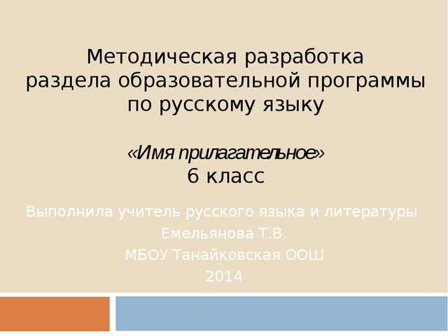 Методическая разработка раздела образовательной программы по русскому языку ...
