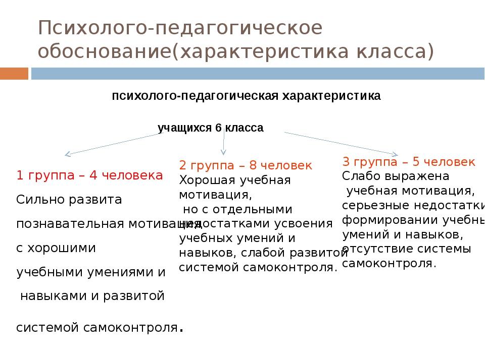 Психолого-педагогическое обоснование(характеристика класса) психолого-педагог...