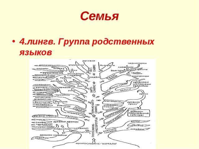 Семья 4.лингв. Группа родственных языков