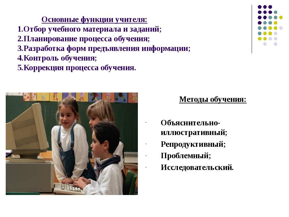 Основные функции учителя: 1.Отбор учебного материала и заданий; 2.Планирован...