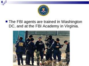The FBI agents are trained in Washington DC, and at the FBI Academy in Virgin