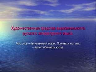 Художественные средства выразительности русского литературного языка. Мир сло
