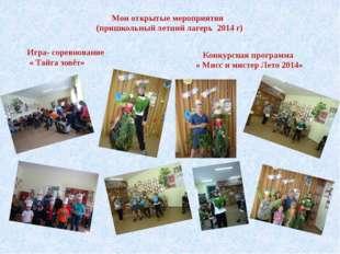 Мои открытые мероприятия (пришкольный летний лагерь 2014 г) Игра- соревновани