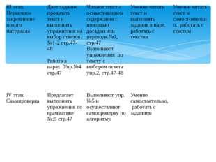 IIIэтап. Первичное закрепление нового материала Дает задание прочитать текст