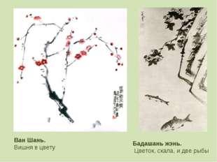 Ван Шань. Вишня в цвету Бадашань жэнь. Цветок, скала, и две рыбы