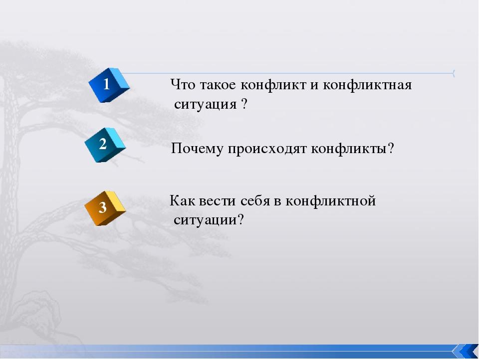 Что такое конфликт и конфликтная ситуация ? 1 2 3 Почему происходят конфликты...