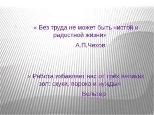 « Без труда не может быть чистой и радостной жизни» А.П.Чехов « Работа избав