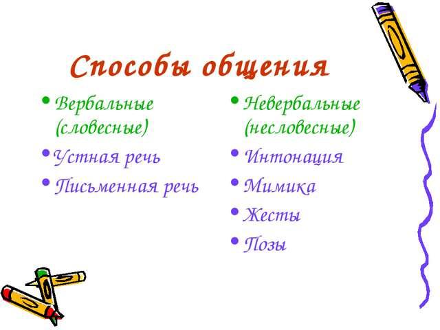 Способы общения Вербальные (словесные) Устная речь Письменная речь Невербальн...