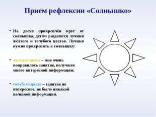 Прием рефлексии «Солнышко» На доске прикреплён круг от солнышка, детям раздаю