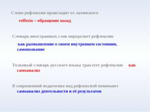 Слово рефлексия происходит от латинского reflexio – обращение назад Словарь и
