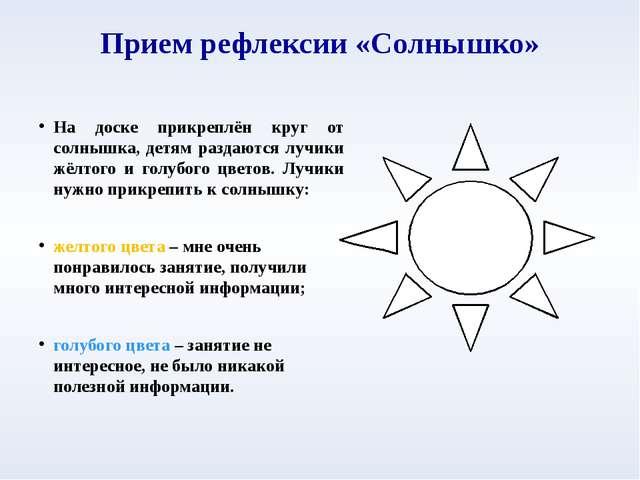 Прием рефлексии «Солнышко» На доске прикреплён круг от солнышка, детям раздаю...