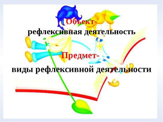 Объект- рефлексивная деятельность Предмет- виды рефлексивной деятельности