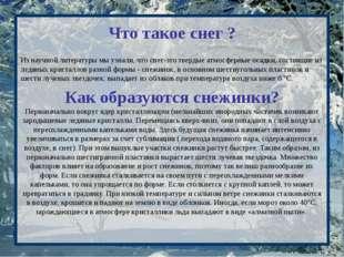 Что такое снег ? Из научной литературы мы узнали, что снег-это твердые атмосф